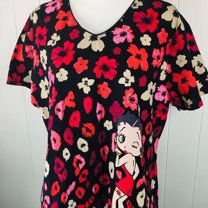 Cherokee Tooniforms Betty Boop Scrub Top Size XL